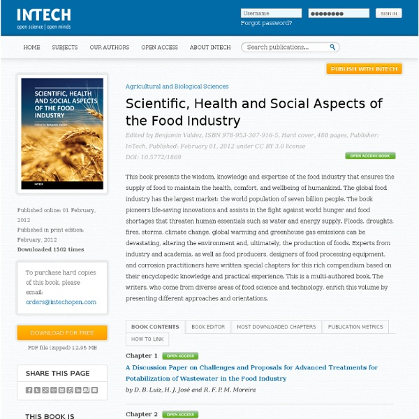 INTECH - FEV 2012 - Scientific, Health and Social Aspects of the Food Industry