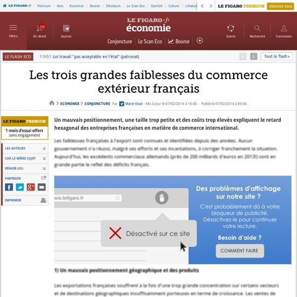 Les trois grandes faiblesses du commerce extérieur français