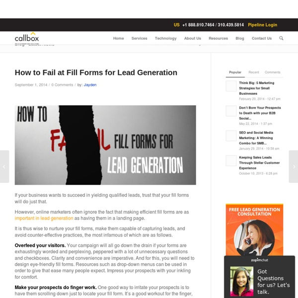 How to Fail at Fill Forms for Lead Generation