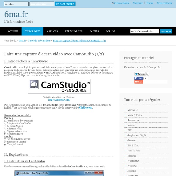 Tutoriel CamStudio