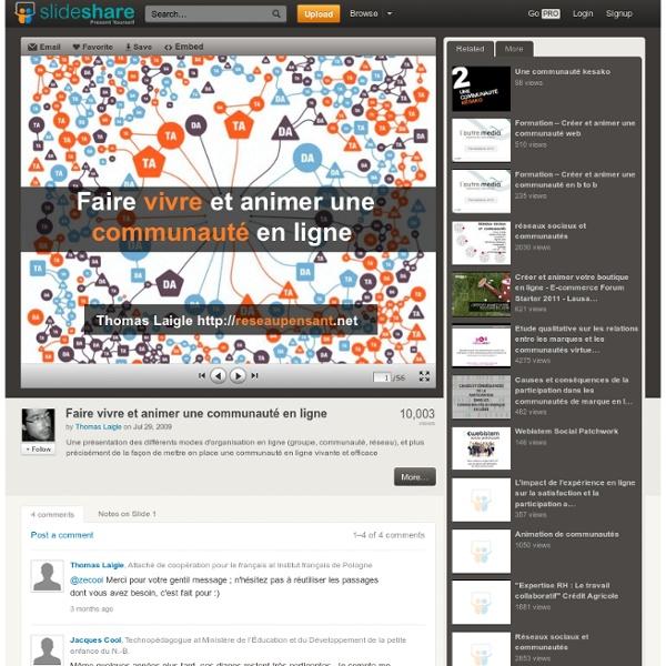 Diapo : Faire vivre et animer une communauté en ligne