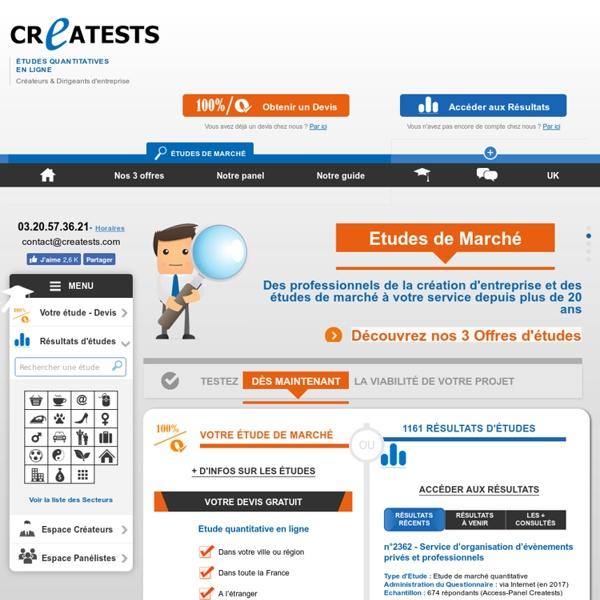 Etudes de marché en ligne : Questionnaires d'enquêtes & Sondages - Creatests