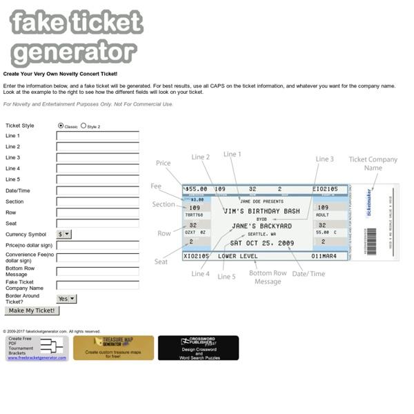 Fake Concert Ticket Generator