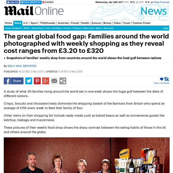 The great global food gap: Families around the world photographed with weekly shopping as they reveal cost ranges from £3.20 to £320