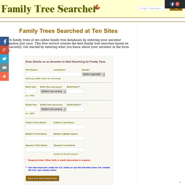 Family Trees Searched at Ten Sites