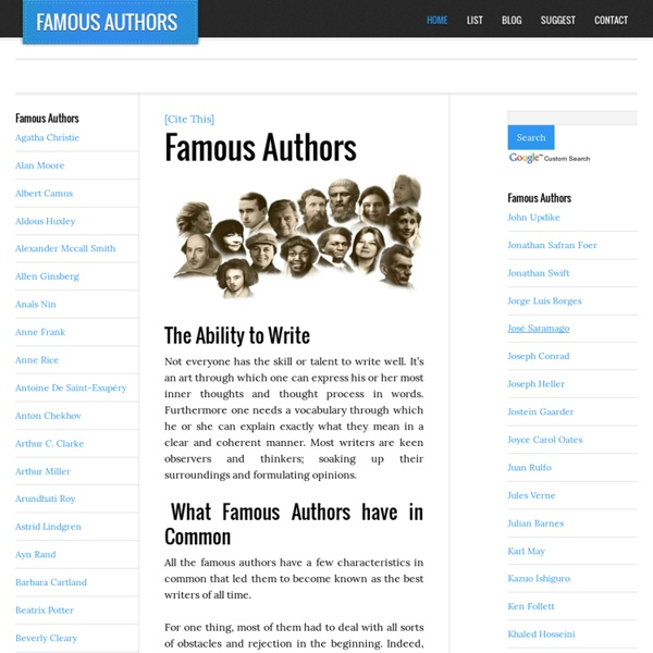 Books and Biographies of Famous Authors