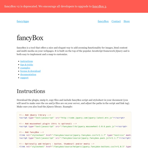 FancyBox - Fancy jQuery Lightbox Alternative | Pearltrees