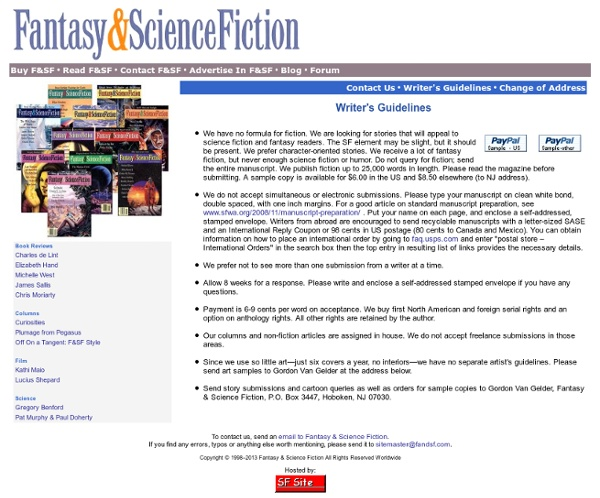 Fantasy and Science Fiction - Writers' Guidelines