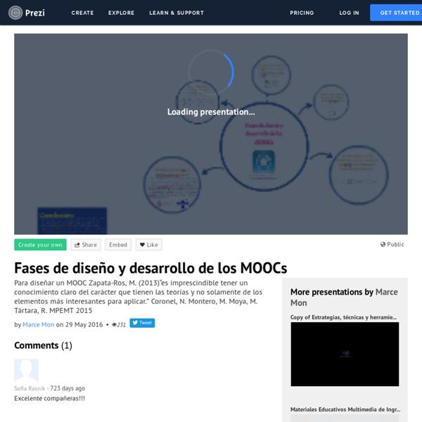 Coronel, N. Montero, M. Moya, M. Tártara, R. (2015). Fases de diseño y desarrollo de los MOOCs on Prezi