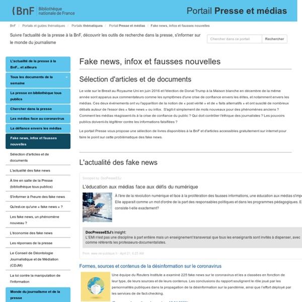 Fake news, infox et fausses nouvelles - Portail Presse et médias