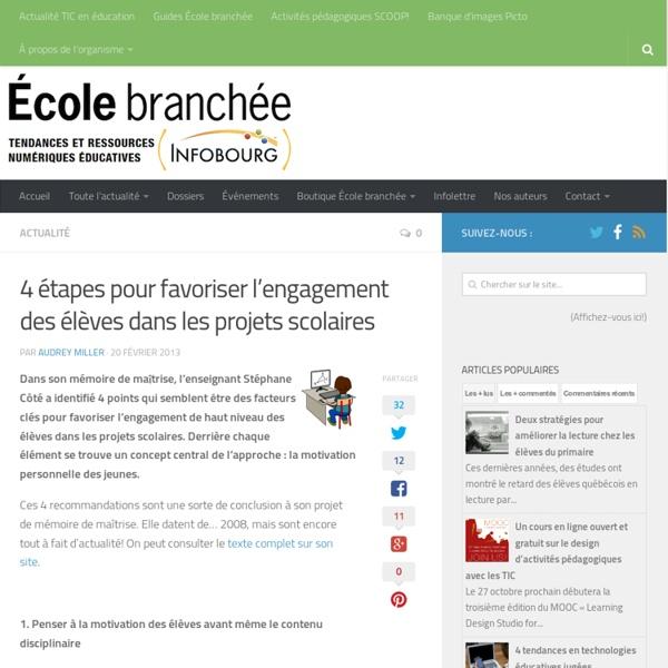 4 étapes pour favoriser l'engagement des élèves dans les projets scolaires - Infobourg.com