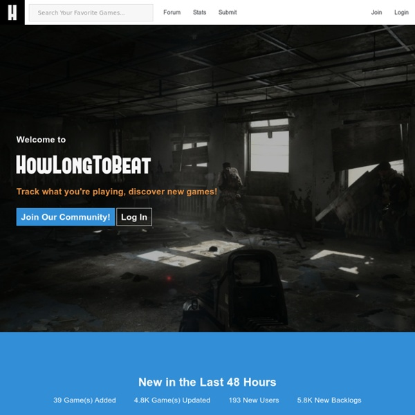 How long does it take to beat your favorite games? - HowLongToBeat.com