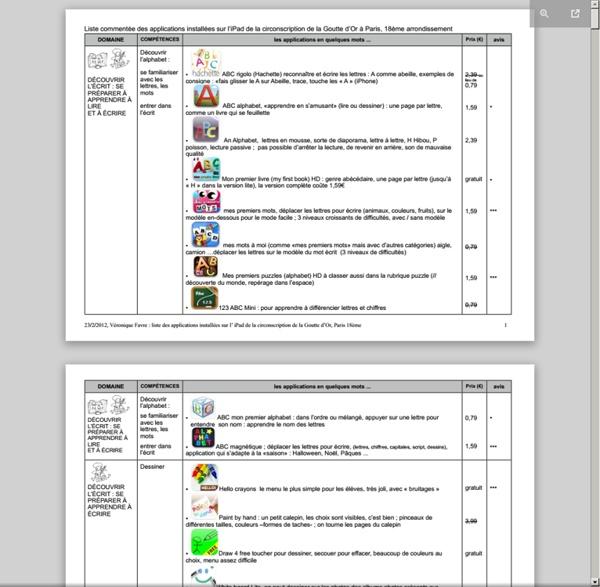 Applications installées sur l'iPad de la 18B (avec étoiles)