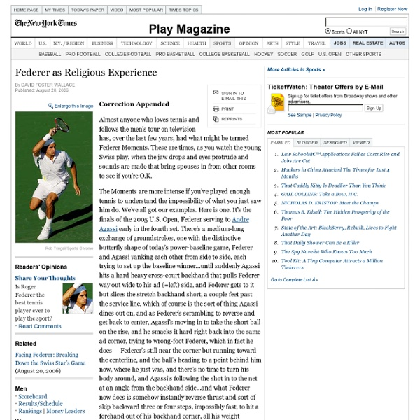 Roger Federer as Religious Experience - Tennis