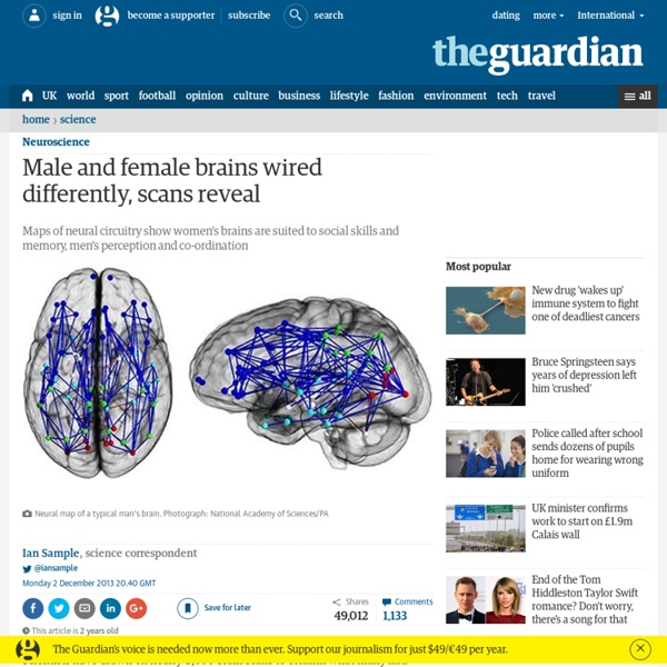 Male and female brains wired differently, scans reveal