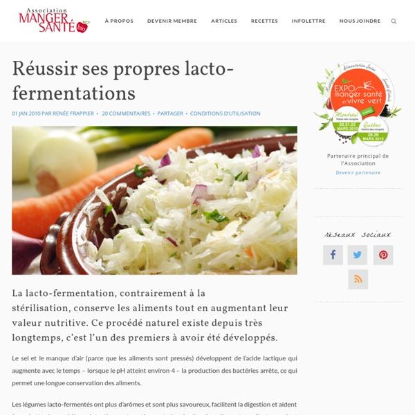 Réussir ses propres lacto-fermentations « Association Manger Santé Bio
