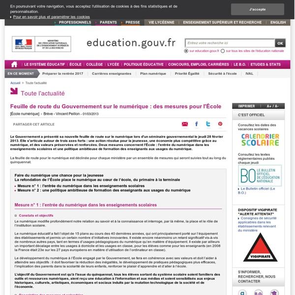 Feuille de route du Gouvernement sur le numérique : des mesures pour l'École