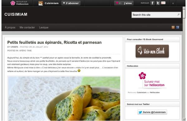 Petits feuilletés aux épinards, Ricotta et parmesan