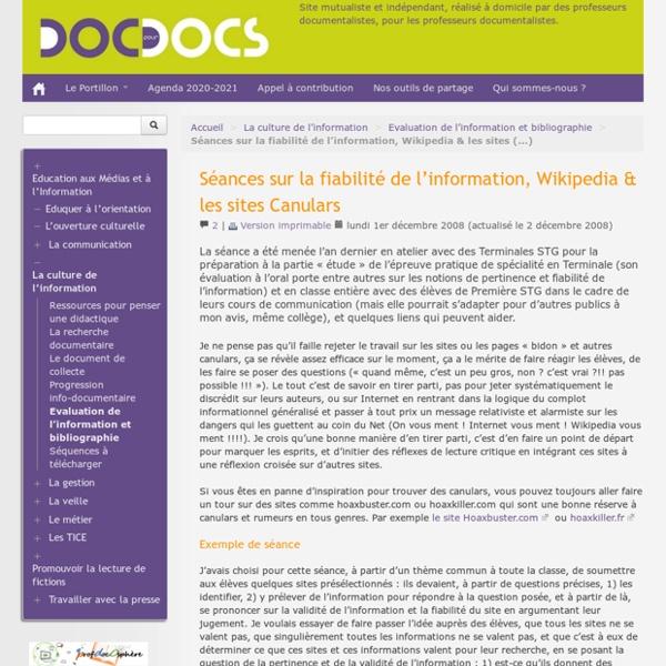 Séances sur la fiabilité de l'information, Wikipedia & les sites Canulars