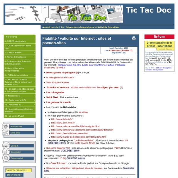 Fiabilité / validité sur Internet : sites et pseudo-sites