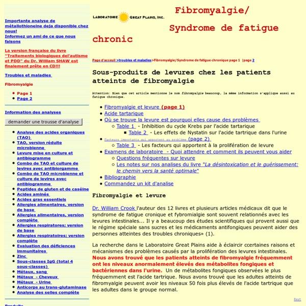 Fibromyalgie et levure