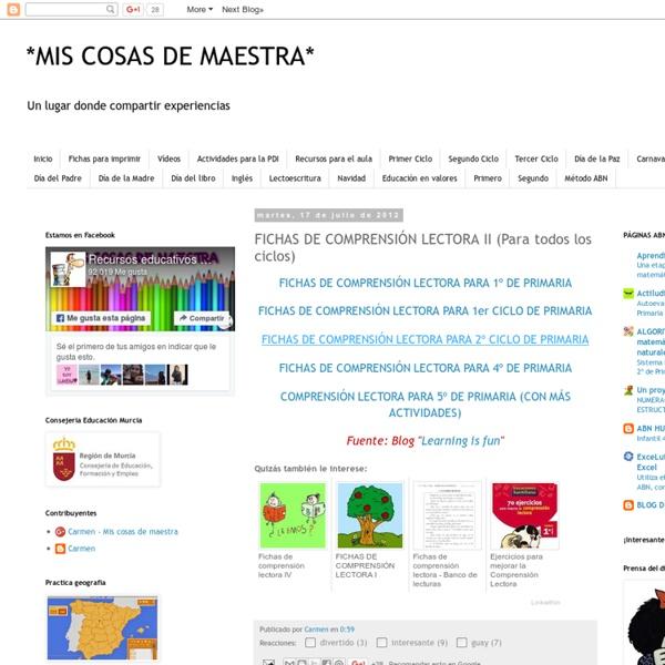 *MIS COSAS DE MAESTRA*: FICHAS DE COMPRENSIÓN LECTORA II (Para todos los ciclos)