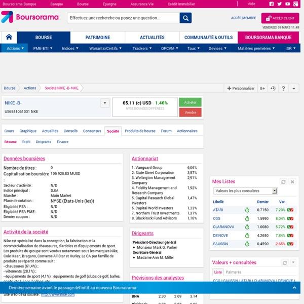 Données boursières, données financières, chiffres clés NIKE INC