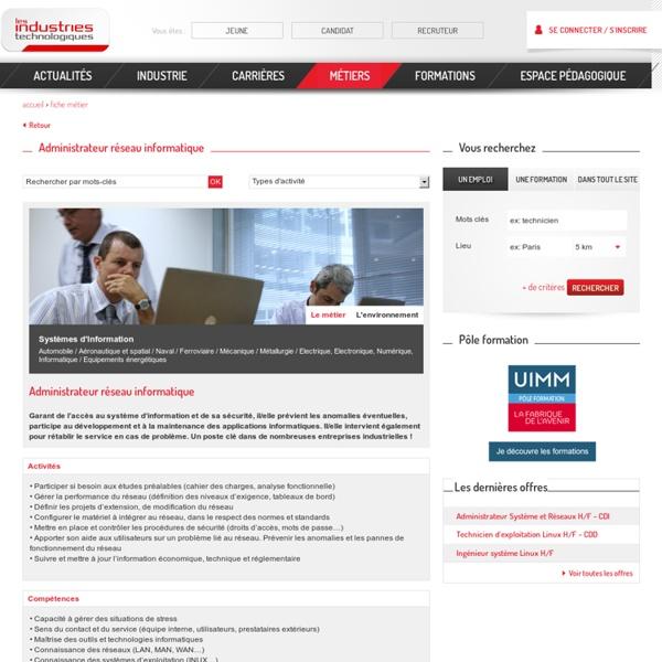 Administrateur réseau informatique - fiche métier, offre d'emploi et formation