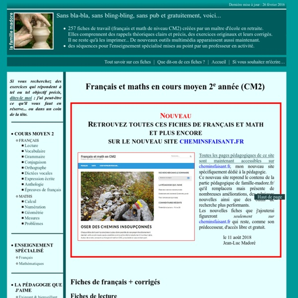 Fiches d'exercices de français et math - CM2 | Pearltrees