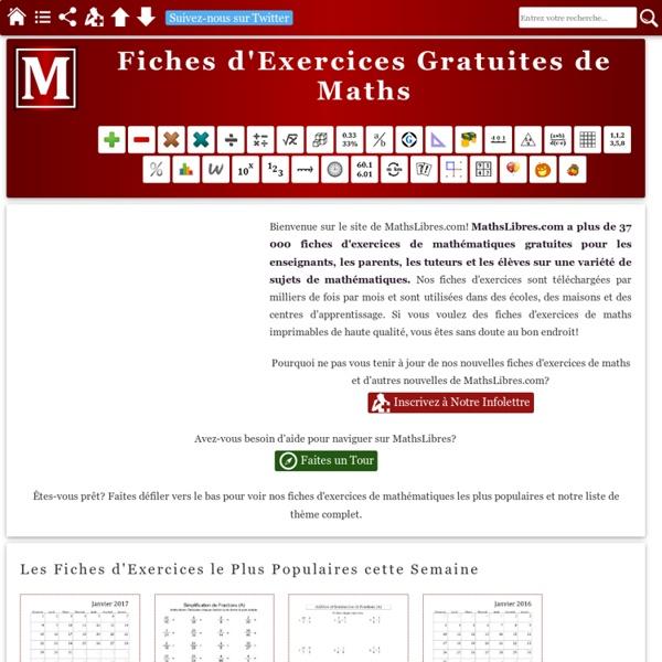 Feuilles d'Exercices pour les Mathématiques