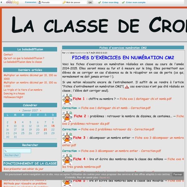 Fiches d'exercices numération CM2 - La classe de Crol