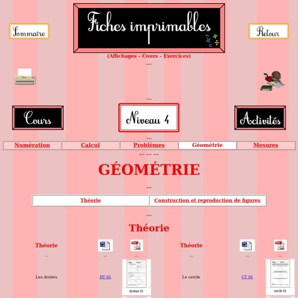 Mathématiques - Ressources téléchargeables - niveau 4