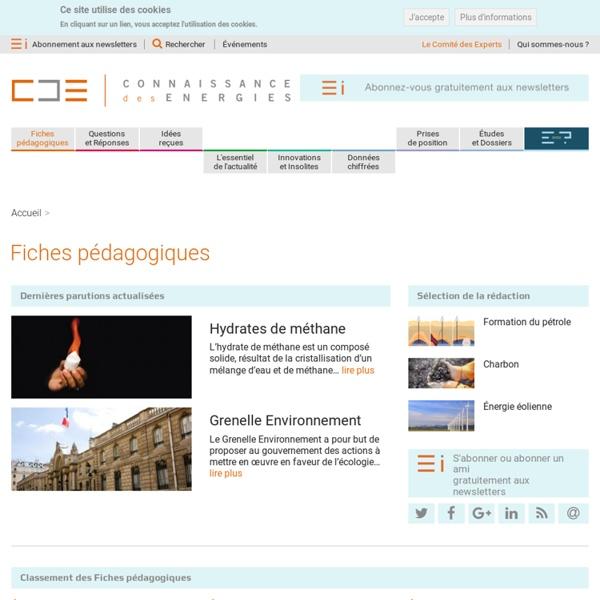 Connaissances des énergies : fiches pédagogiques (site internet)
