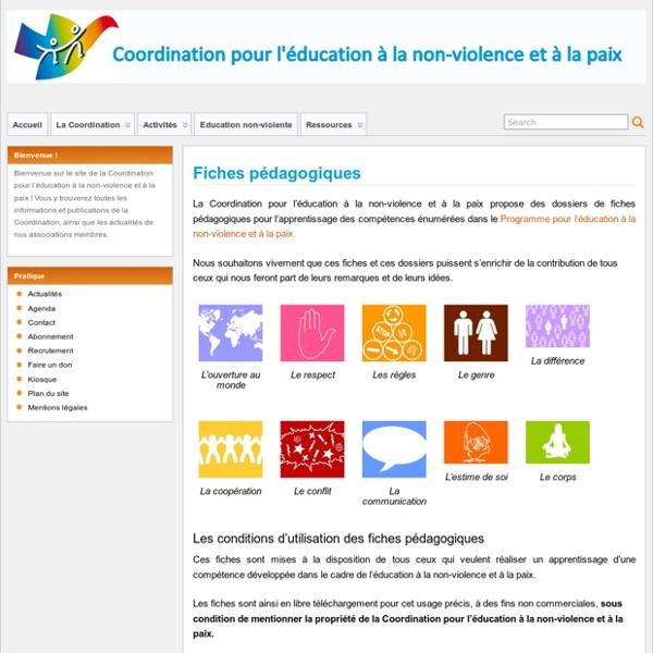 Fiches pédagogiques – Coordination pour l'éducation à la non-violence et à la paix
