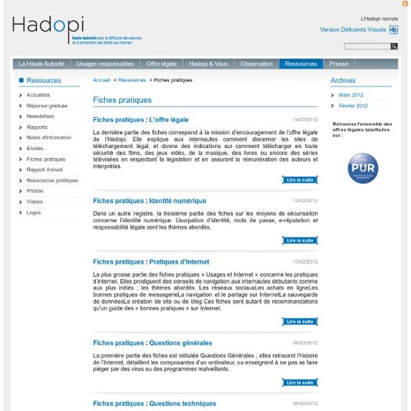 HADOPI - Fiches pratiques