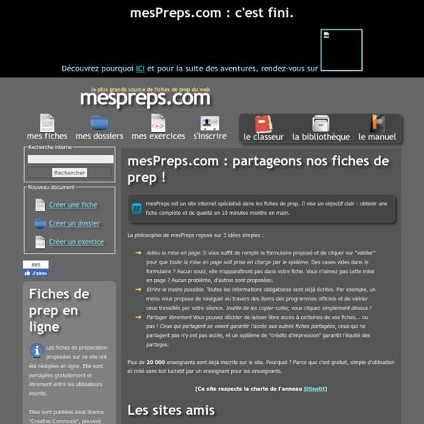 MesPreps.com - Fiches de prep en ligne