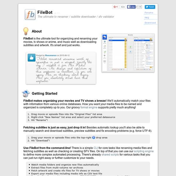 FileBot - The ultimate TV and Movie Renamer / Subtitle Downloader