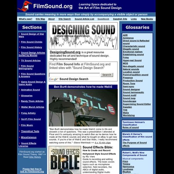 FilmSound.org: dedicated to the Art of Film Sound Design & Film Sound Theory