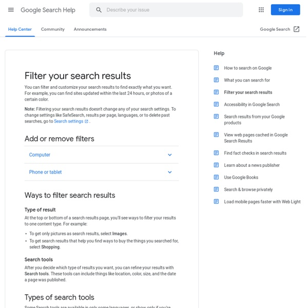 Search tools and filters - Web Search Help - Web Search Help