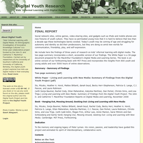 DIGITAL YOUTH RESEARCH