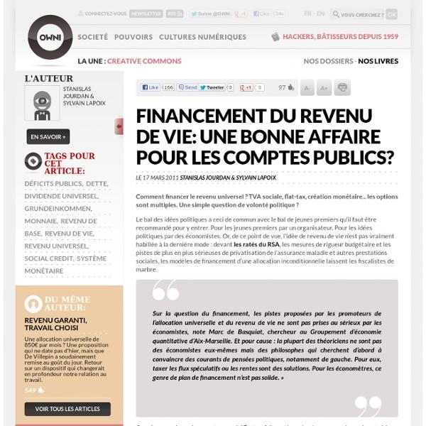 Financement du revenu de vie: une bonne affaire pour les comptes publics? » Article » OWNI, Digital Journalism