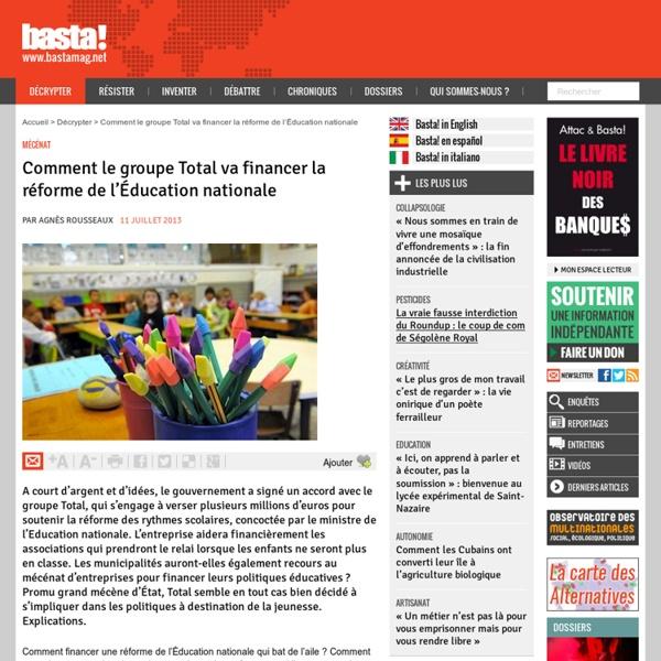 Comment le groupe Total va financer la réforme de l'Éducation nationale - Mécénat
