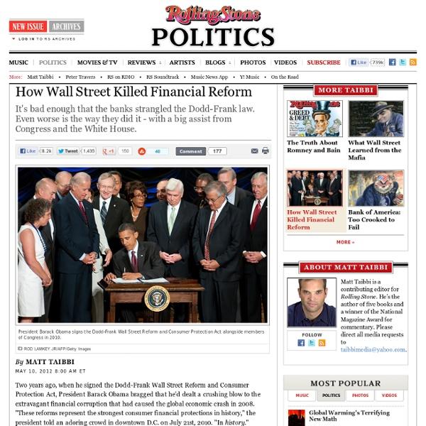 How Wall Street Killed Financial Reform