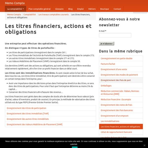 Les titres financiers, actions et obligations