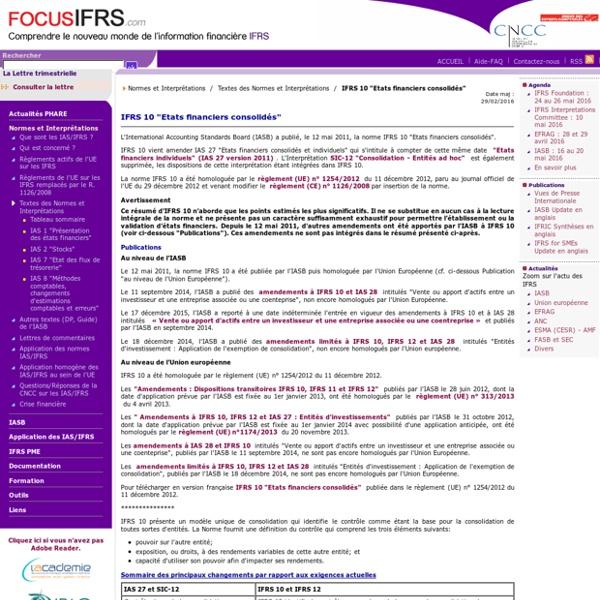 """IFRS 10 """"Etats financiers consolidés"""" / Textes des Normes et Interprétations / Normes et Interprétations"""