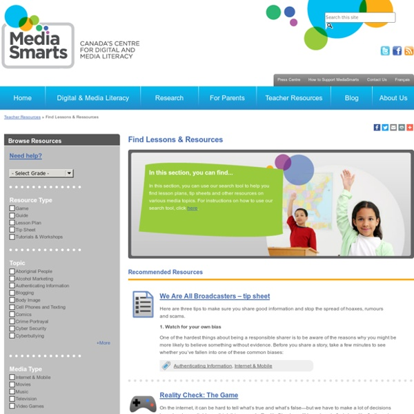 Media Smarts Lessons & Resources