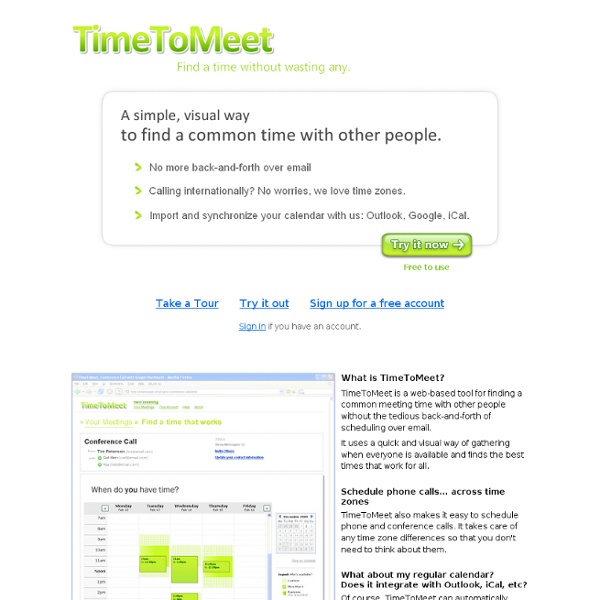 Find a meeting time the easy way: TimeToMeet.info