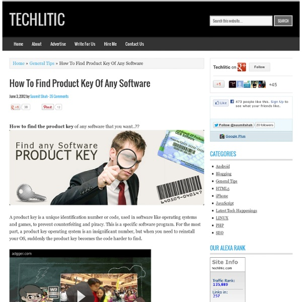 How To Find Product Key Of Any Software » Product Key Finder Tips