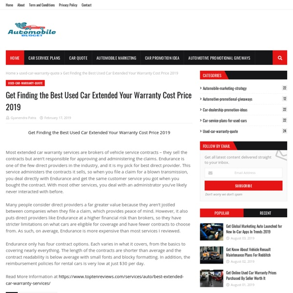 Get Finding the Best Used Car Extended Your Warranty Cost Price 2019