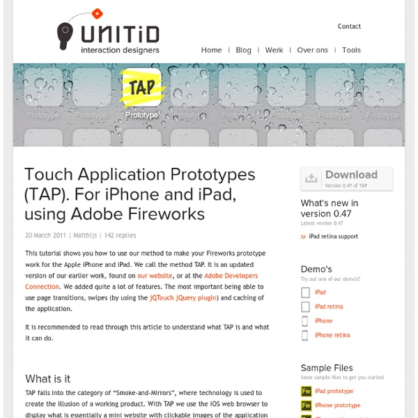 Touch Application Prototypes (TAP). For iPhone and iPad, using Adobe Fireworks – UNITiD